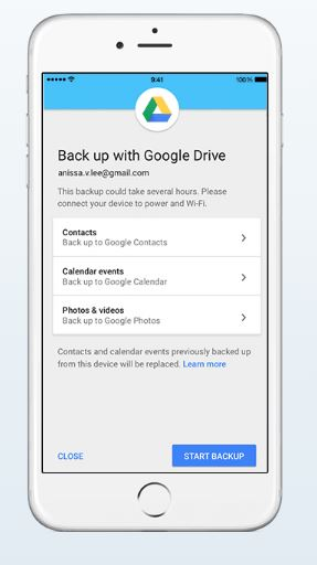 Use Google Drive to switch from iOS to Android